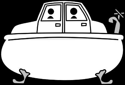 Un coche en una bañera