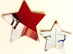 Estrellas forradas con papel de revista